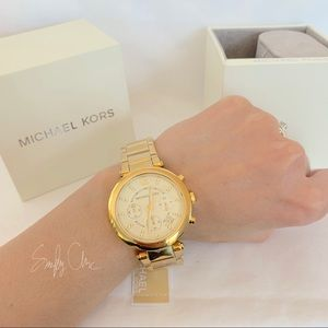 Michael Kors Accessories - NWT MK Parker Champagne Dial Gold-tone Watch